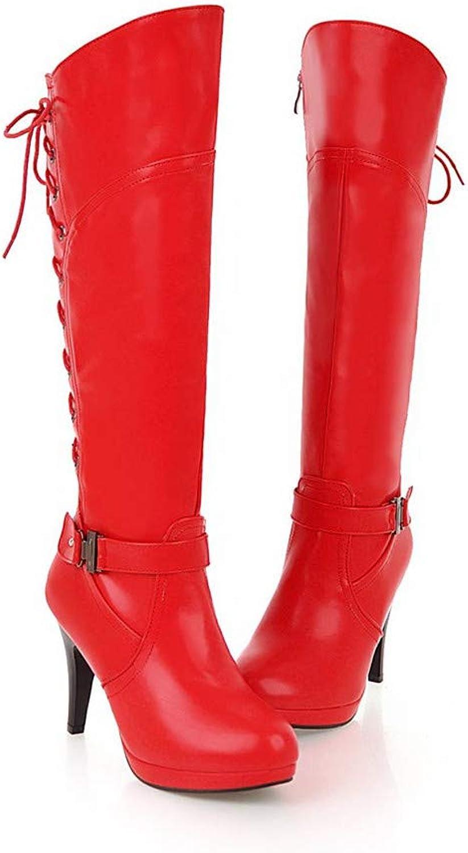 MFairy Woman's Knee High Heel Platform Boots Zip Buckle Stiletto Heels Boots