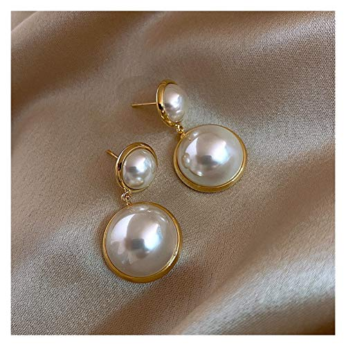 SSN Pearl Earrings Wedding Wild Simple Retro Earrings Temperament Circle Earrings Fashion Earrings (Color : D)