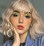 Short Wavy Blonde Bob Wigs for Women 14in Mixed Blonde Shoulder Length Wig with Air Bangs Short Curly Wavy Synthetic Hair Wigs for Girls Heat Resistant Daily Party Full Wig (Mixed Blonde)