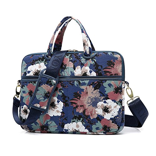 KAYOND Watercolor Orchid Patten Canvas Laptop Shoulder Messenger Bag Case Sleeve for 13.3 Inch Laptop and Macbook Air Pro 13 (13-13 inch, Watercolor Orchid)