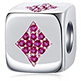 Dice-Shaped Diamonds Symbol with CZ of Poker Charms, 925 Sterling Silver Cube Four Suits in Cards Beads fits Pandora Women Bracelet, Winter Gifts for Christmas/Halloween/Thanksgiving Day