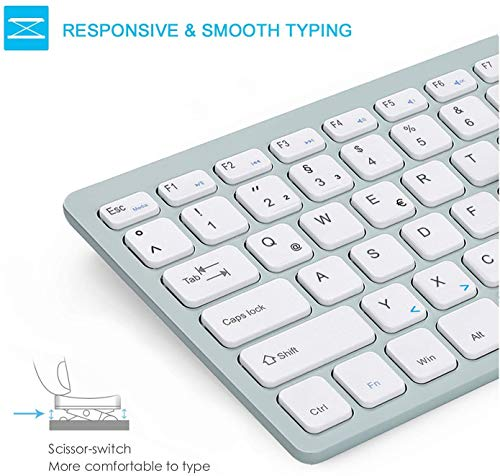 Jelly Comb Funkmaus und Tastatur Set, 2.4G Kabellose Ultraslim Mini Tastatur und Maus Combo, QWERTZ Deutsches Layout für MacBook, PC, Laptop, Smart TV, Weiß und Grün