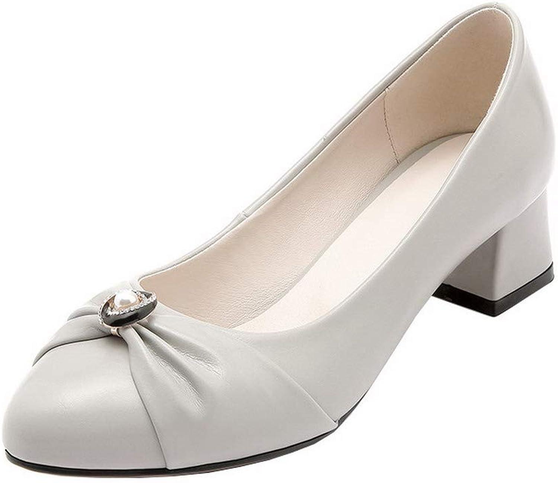 AllhqFashion Women's Pull-On Kitten-Heels PU Solid Pumps-shoes, FBUDD011872