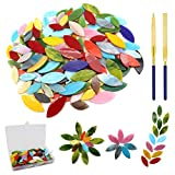 LITMIND 120 Pieces Stained Glass Flowers and Leaves with 2Pcs Diamond Needle File Set, Garden Mosaic Stain Glass Petals for DIY Crafts