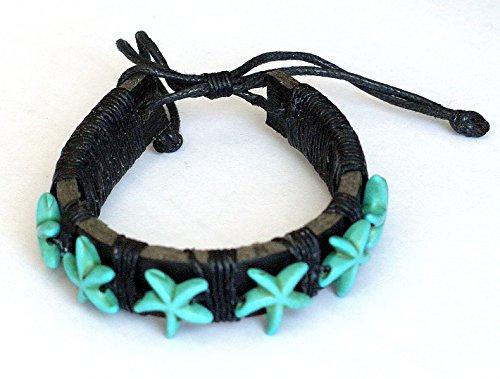 Pulsera boho chic surfera estrellas de mar howlita turquesa cuero piel ajustable cordón negro