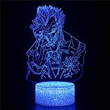Cómic Batman Joker El Caballero Oscuro 3D LED Luz de noche Ilusión óptica Lámpara de mesa Luz iluminación 16 colores de control remoto con Acrílico Plano & ABS Base & Cargador usb