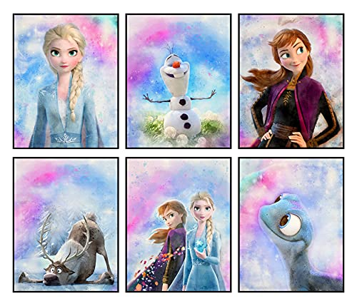Frozen Wall Decor Posters for Girls Room Decor, Set of 6 Prints, 8x10 Inch, Frozen Bedroom Decor for Girls, Frozen Poster, Girls Bedroom Decor, Watercolor Art Pictures of Elsa Anna Olaf Kristoff Sven for Tween Girl, Kids Bedroom Playroom Birthday Party Decoration Frozen 1 2