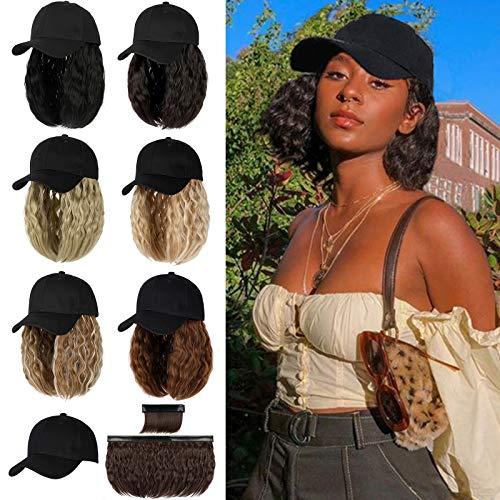 Qlenkay Baseball Cap with 14 inch Wave Curly Short Bob Hairstyle Adjustable Hat Wig Attached Removable Hair Extensions Ginger Blonde Mix Bleach Blonde