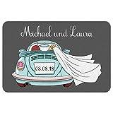 Geschenke 24 Fußmatte zur Hochzeit mit Automotiv in Türkis: Fußabtreter mit Namen von Braut und Bräutigam + Hochzeitsdatum personalisiert