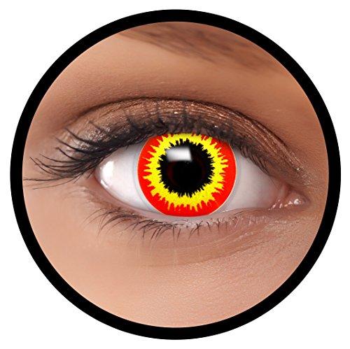 Farbige Kontaktlinsen rot Ork + Behälter, weich, ohne Stärke in als 2er Pack (1 Paar)- angenehm zu tragen und perfekt für Halloween, Karneval, Fasching oder Fastnacht Kostüm