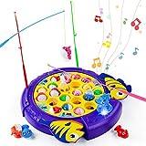 TONZE Peche a La Ligne Enfant Jeu Musical Jouet Jeux Educatif Poisson Canne à Pêche Jeux de Societes Fille Garcon Enfants 3 4 5 6 Ans