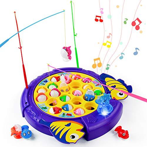 TONZE Angelspiel Fische Angeln Spiel Brettspiele-Musik Kinderspiele mit 21 Fischen 4 Angelruten Spielzeug ab 3 4 5 6 Jahre Junge Mädchen Geschenk