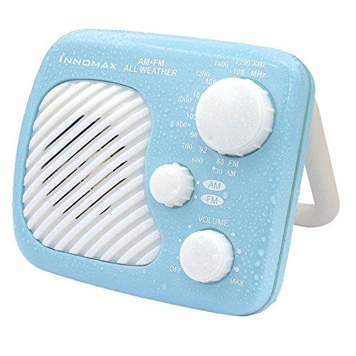 Innomax AM/FM Radioempfänger spritzwassergeschützt, für Bad, Dusche, jedes Wetter