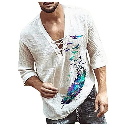 camicia donna hawaiana manica lunga T-shirt da uomo con stampa casual con scollo a V e mezze Manica lunga estiva da uomo di moda Camicie a Manica lunga abbottonate con stampa hawaiana da uomo