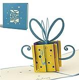 Tarjeta de felicitación para cumpleaños hecho a mano con diseño en 3D paquete regalo pequeño, azul, texto en inglés, G02