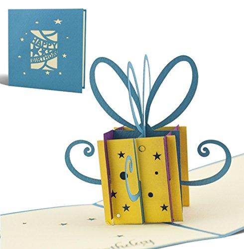 G02 Tarjeta de felicitación para cumpleaños de alta calidad hecho a mano con diseño en 3D paquete regalo pequeño, azul, texto en inglés