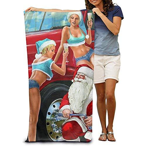 utong Toallas de Playa 100% algodón 80x130cm Toalla de Secado rápido para Nadadores Manta de Playa de Navidad de Santa Claus