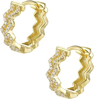 Dtja Wave Cubic Zirconia Fashion Small Hoop Earrings for Women Girls S925 Sterling Silver CZ Crystal Crowded Cartilage Hyp...