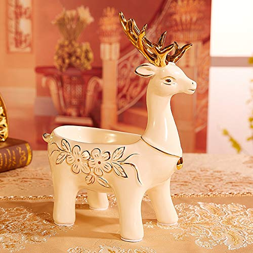GXWT Ceramic Porch Shoe Cabinet Key Storage Ornaments European Door TV Remote Control Storage Box Living Room Creative Jewelry (Size : Station deer)
