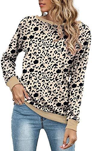 Skxusidhus Womens O-Neck Loose Fit Leopard Print Pullover Long Sleeve Sweatshirt