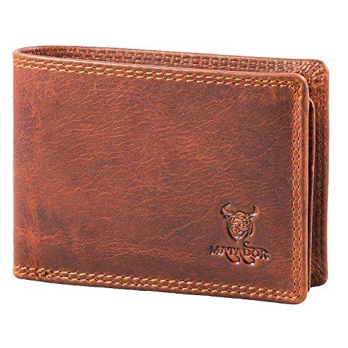 MATADOR Herren Geldbörse Echt Leder Portemonnaie Klein RFID Antik Vintage Braun