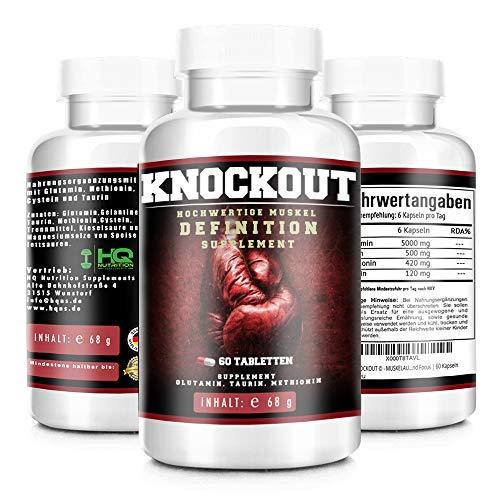 KNOCKOUT - MUSKELAUFBAU EXTREM - beliebt im Bodybuilding, Fitness und MMA - schnellere Regeneration der Muskulatur - mehr Motivation und Focus - 60 Kapseln hergestellt in Deutschland