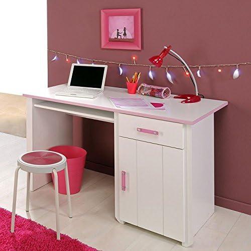 expendio Schreibtisch 121x77x65cm Weiß Rosa, Bürotisch Arbeitstisch PC-Tisch Computertisch, Beauty 8