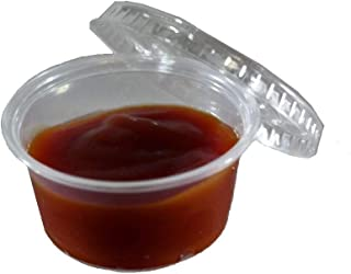 100 Pack of Individual Portion Souffle Condiment Cups with Lids - 2 oz. - Perfect for Ketchup, Salsa, BBQ Sauce, and Dipping by California Containers