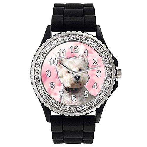 Timest - West Highland Terrier - Reloj de Silicona Negro para Mujer con piedrecillas Analógico Cuarzo CSG007