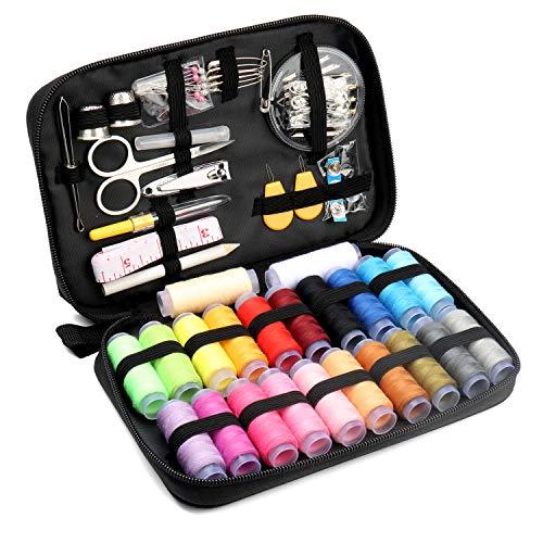 Qisiewell Kit de Costura 235 Piezas Accesorios de Costura Premium Costurero con 24 Carretes de Hilo para Uso Doméstico Adultos Niños el Viajes y Principiantes y emergencias