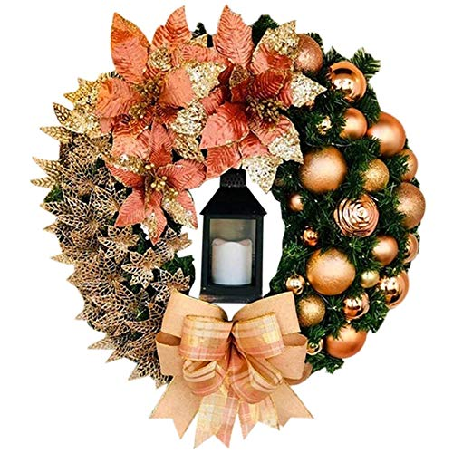 UMEI 19.69 Inch(Diameter) Christmas Garland, Colors Xmas Fall Leave Vines with Candle Packing Box for Holiday Party Wedding Thanksgiving Dinner Home Apartment Indoor Outdoor Hanging Decorative (Gold)