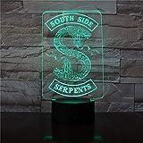 Niños s 3D Night Light Badge Riverdale Snake Logo Night Light Led Southside Serpientes Decoración Sign Cosas Riverdale Accesorios Mesa de regalo Dormitorio Luz