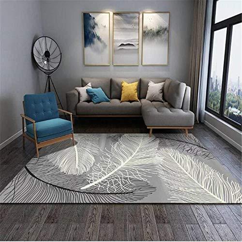 WQ-BBB Alfombraes Pelo Corto Hermosa Tatami La Alfombrae Diseño de Moda Simple decoración de Plumas Blancas Grises Negras Alfombra de Goma Alfombras Salon Grandes 80X200cm