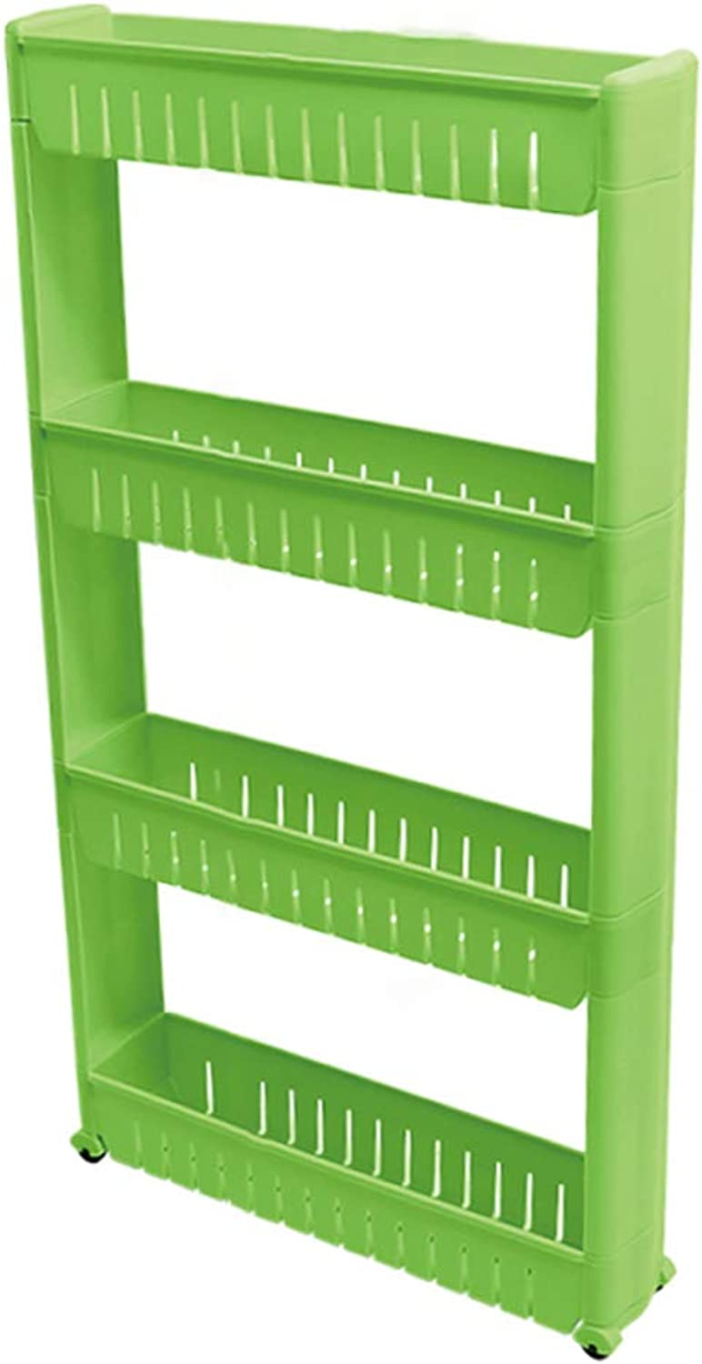 HUYP 4-Layer Storage Rack Personality Fashion Home Goods Rack Kitchen Movable (color   Green)