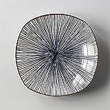 WEI-LUONG Stile Europeo semplice quadrato delle famiglie in stile giapponese e del vento del piatto di ceramica della glassa di colore Piatto Piatto Piatto Spuntino Blue Square banda piatto fondo 19.6