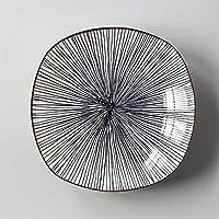 LIZANAN 皿 ヨーロッパスタイルのシンプルな家庭用和風と風の広場プレート釉薬の色食器皿スナックプレートブルーストライプディープスクエアプレート19.6X4.5Cm 食器セット (Color : Deep Blue Hexagon)