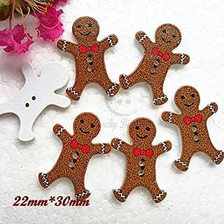 6 Little Light Gingerbread People Shank Buttons Size 12