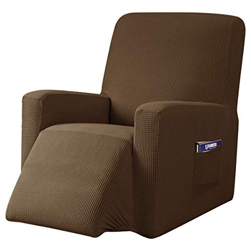 subrtex Recliner Chair Cover Stretch Recliner Slipcover Lazy Boy Covers for Furniture Protector Rocker Sofa Cover with Side Pocket (Recliner,Coffee) -  SBTZHS004