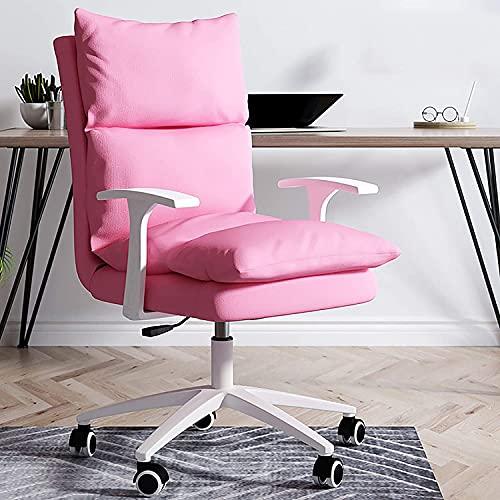 Leoye Silla de oficina tapizada, moderna silla giratoria de tela para conferencias con respaldo alto para ejecutivos en el hogar, silla ergonómica de computadora de tela con doble acolchado Chayelu