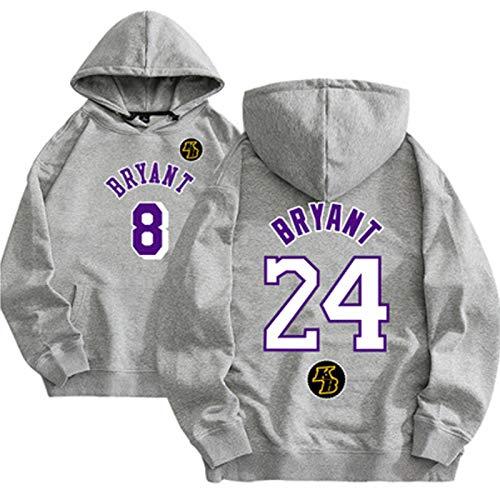 Lakers # 24 Kobe Bryant Men's Baloncesto Pullover, Pullover Baloncesto Sudadera Impresa Swaot Sportswear Suéter Suéter, Blanco (S-3XL) Grey-M
