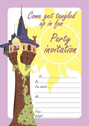 Lot de 10 invitations d'anniversaire enfant Raiponce (en anglais)