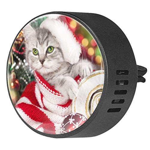 Josid Ambientador para coche con diseño de gatito en gorro de Papá Noel, 2 unidades, 40 mm