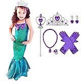 OBEEII Vestido de Fiesta Disfraz Sirena Niña Fiesta Boda Princesa Cosplay Vestido Sirena Sin...