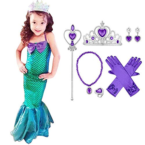 OBEEII Vestido de Fiesta Disfraz Sirena Niña Fiesta Boda Princesa Cosplay Vestido Sirena Sin Mangas