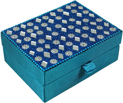 Guru-Shop Indiase Spiegeldoos, Oosterse Make-up Spiegel - Turquoise, 4x10x8 cm, Blikken, Dozen Kisten