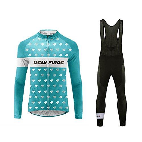 Uglyfrog 2019 Primavera Verano Hombres Ropa Ciclismo Maillot Mangas largas Camiseta de Ciclistas + Babero Pantalones Cômodo Respirable Secado rápido de Bicicletas Cuerpos Triatlón Ropa MESTZ15