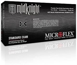 Microflex 296-L MidKnight Black Powder-Free Nitrile Examination Gloves - LARGE-100/Per Box (5 Pack)