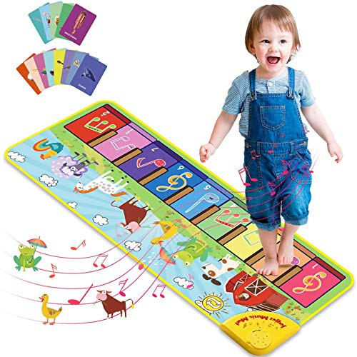 Joyjoz Baby Musical Mats with 25 Music Sounds, Musical Toys Child Floor Piano Keyboard Mat Carpet Animal Blanket Touch Playmat Early Education Toys for Baby Girls Boys (39.4 x 14.2 in)