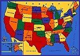 Kids Area Rug - USA Map Design (5 Ft. X 7 Ft.)