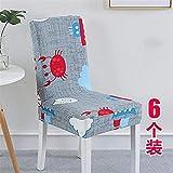 ZTMN Stuhlhussen Stuhlkissenset Siamese Home Stretch Stuhlpaket Stuhlhussen @A (6 Teile)